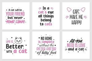 coleção de citações sobre gatos ou animais fofos. pode ser aplicado em camisetas, displays de parede domésticos e outros vetor