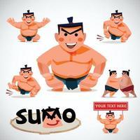 conjunto de caracteres de sumô - ilustração vetorial vetor