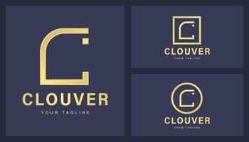 Conjunto de logotipo minimalista com letra C vetor