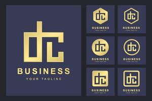 conjunto minimalista de logotipo em letra dc vetor