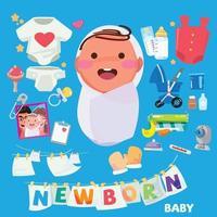recém-nascido. bebê com conjunto de acessórios vetor