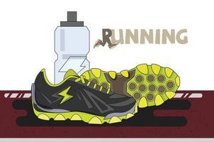 tênis de corrida com garrafa de água vetor