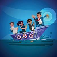 líder empresarial segurando a lâmpada no barco com a equipe de negócios. grande conceito de líder vetor