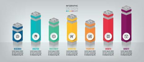 modelo de infográfico de conceito de negócio com opção de porcentagem. vetor