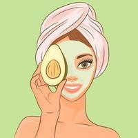 uma garota com uma máscara cosmética e abacate vetor