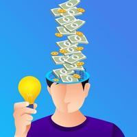 ilustração conceito ideia criativa e dinheiro vetor