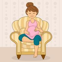 uma mulher grávida está sentada no sofá vetor