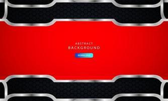 fundo hexágono preto escuro com decoração lista vermelha e prata vetor