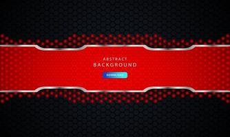 fundo hexágono preto escuro com decoração lista vermelha e prata. vetor