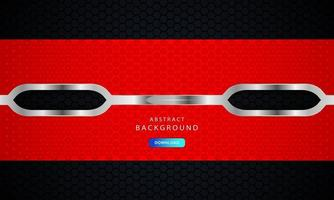 fundo de metal abstrato hexagonal vermelho com efeito de contorno prateado. vetor