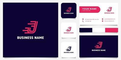 Logotipo de velocidade simples e minimalista em rosa brilhante letra j em fundo escuro logotipo com modelo de cartão de visita vetor