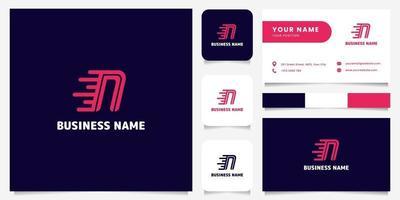 Logotipo de velocidade n simples e minimalista em rosa brilhante em fundo escuro logotipo com modelo de cartão de visita vetor