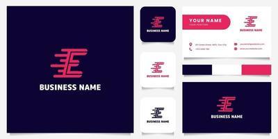 Logotipo simples e minimalista de letra e velocidade em rosa brilhante em fundo escuro logotipo com modelo de cartão de visita vetor