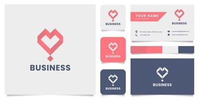 logotipo de coração isométrico simples e minimalista com modelo de cartão de visita vetor