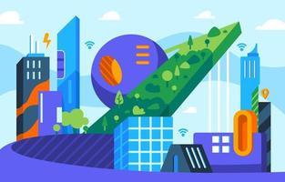 conceito de cidade inteligente em design plano vetor