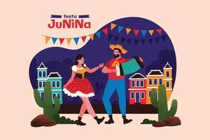festa junina celebração em estilo simples vetor