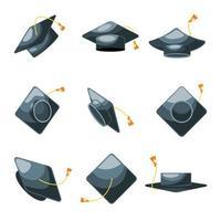 coleção de ícones de chapéus de formatura vetor
