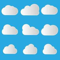 conjunto de ícones de nuvem em moderno estilo plano isolado sobre fundo azul. símbolo da nuvem para o design do seu site, logotipo, aplicativo, interface do usuário. vetor