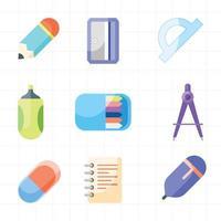 conjunto de ícones de papelaria escolar vetor