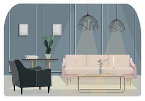 Vetorial, sala de estar, ilustração