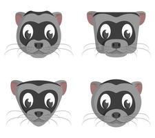 conjunto de furões de desenhos animados. diferentes formas de cabeças de animais. vetor