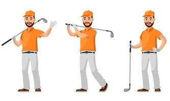 jogador de golfe em diferentes poses. vetor