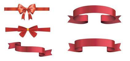 arco e fita vermelhos de presente. vetor