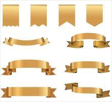 banners de fita dourada. coleção retro de elementos de design isolada em vetor de fundo branco
