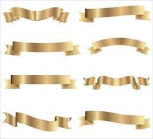 coleção de fitas douradas com fita amarela horizontal, isolada no fundo branco. decoração de presente de feriado, coleção de fitas de venda brilhante. ilustração vetorial realista vetor