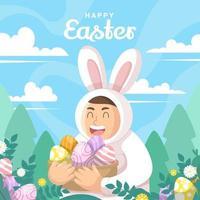 feliz celebração da páscoa vetor