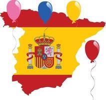 bandeira do mapa da espanha vetor