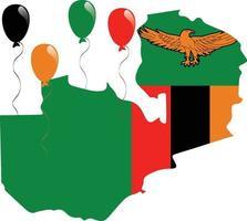 bandeira do mapa da zâmbia vetor