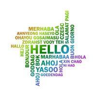 padrão sem emenda de texto com a palavra Olá em diferentes idiomas. vetor