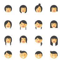 ícones de cores planas de emoções de penteados. ilustração vetorial vetor
