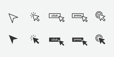 conjunto de ícones de cursor de clique de mouse de computador vetor