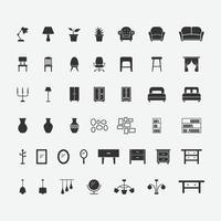 ilustração em vetor de conjunto de ícones isolados de móveis para casa.