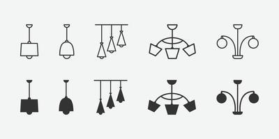 ilustração em vetor de lustre isolado conjunto de ícones.