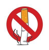 ponta de cigarro. sinal de não fume vetor