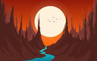 Vetorial, fantasia, paisagem, ilustração vetor