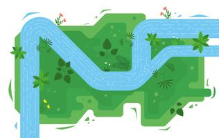 Vetorial, topo, vista, rio, ilustração vetor