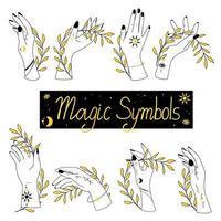conjunto de alquimia esotérica mágica mística talismã celestial com mãos de mulher vetor