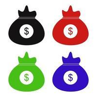 ícone de bolsa de dinheiro no fundo vetor