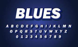 alfabeto de fonte blues vetor