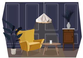 Vetorial, sala de estar, ilustração vetor