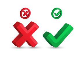 Ícone de marca de seleção de certo e errado vetor