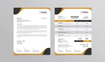 identidade de marca de negócios corporativos ou papel timbrado e modelo de fatura vetor