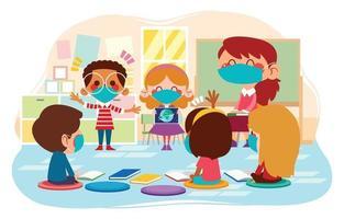 atividade do aluno em sala de aula com protocolo de segurança vetor
