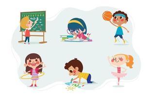 personagem de crianças fofas com atividades escolares vetor