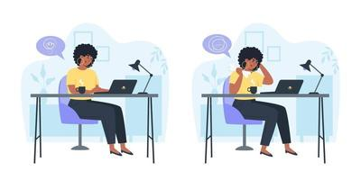 funcionário produtivo e funcionário confuso com raiva, produtividade e resolução de problemas ao longo do dia vetor