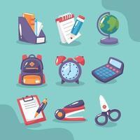 conjunto de ícone de papelaria escolar vetor